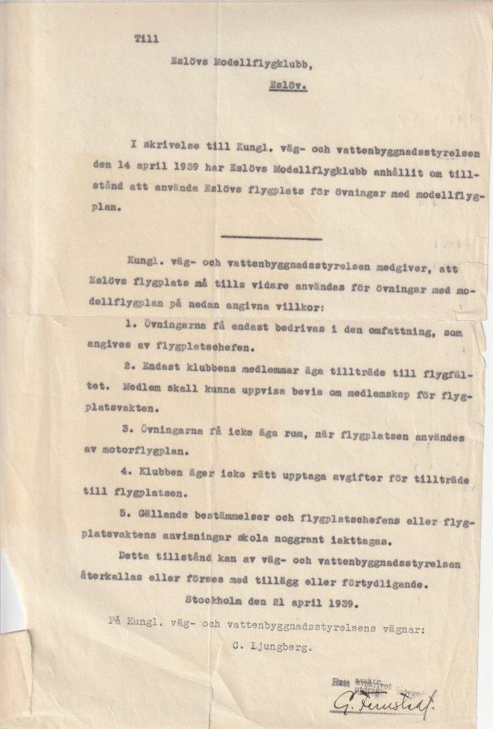Kungl. Väg- och Vattenbyggnadsstyrelsen godkänner föreningens ansökan.